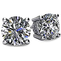 NANA 14k Gold Post & Sterling Silver 4 Prong Swarovski Pure Brilliance CZ Stud Earrings CZ 1.0 to 8.0ctw