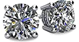 NANA 14k Gold Post & Sterling Silver 4 Prong CZ Stud Earrings -Platinum Plated-8.5mm-5.0cttw