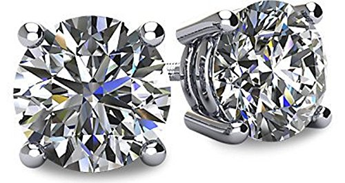 NANA 14k Gold Post & Sterling Silver 4 Prong CZ Stud Earrings -Platinum Plated-6.5mm-2.00cttw ()