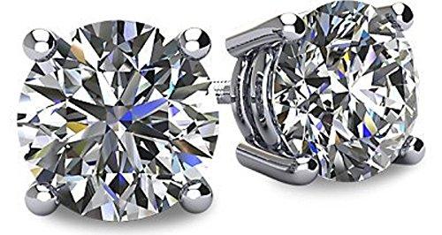 0c51b0bfa NANA 14k Gold Post & Sterling Silver 4 Prong Swarovski Pure Brilliance CZ  Stud Earrings CZ