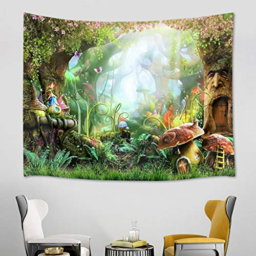 HVEST Fairy Tale Tapestry Mushroom and Green Plants in Forest Wall Hanging Spring Scenery Tapestries for Bedroom Living Room Dorm Party Decor,80Wx60H inches