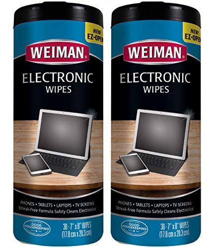 Weiman Electronic Cleaner Wipes - Non Toxic Safely Clean Your Laptop, Computer, TV, Screen and All Electronic Equipment - Electronic Wipes - 30 Count (2 Pack)