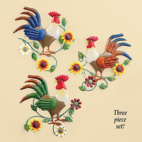 Colorful Country Rooster Trio Metal Wall Art Set Buy