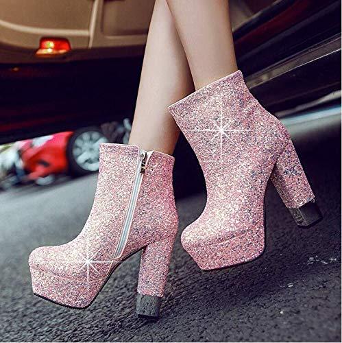 AGECC Damen Stiefel Bequeme Schöne Durable High Heels Mit Raue Stiefel Goldene Hochzeit Schuhe Wasserdichte Stiefel Einzelne Hochzeitsschuhe