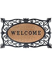Esschert Design - Zerbino in Gomma a Lavorazione Artistica, Inserto Centrale in Fibre di Cocco Decorato con Scritta Welcome, da Circa 75 x 45 cm, Colore: Nero/Naturale Cocco