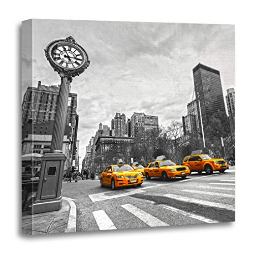 Cab Street Scene - Semtomn Canvas Wall Art Print Yellow Taxi New York City Cab Street NYC Fifth Artwork for Home Decor 20 x 20 Inches
