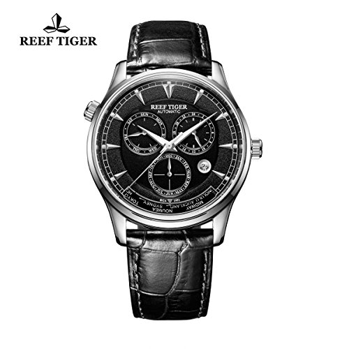 Reef Tiger World Time Month Date Day Black Dial Steel Aut...