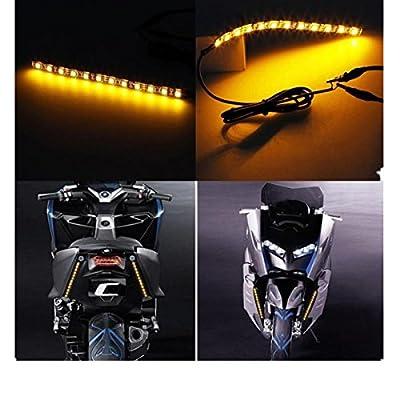 Ecosin® Mini Strip Black led motorcycle Turn signal Amber lights Strip 12LED