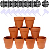 Winlyn 9 Pcs Small Terracotta Pot Clay Pots 3'' Clay Ceramic Pottery Planter Cactus Flower Pots Succulent Pot Drainage Hole- Great for Plants,Crafts,Wedding Favor