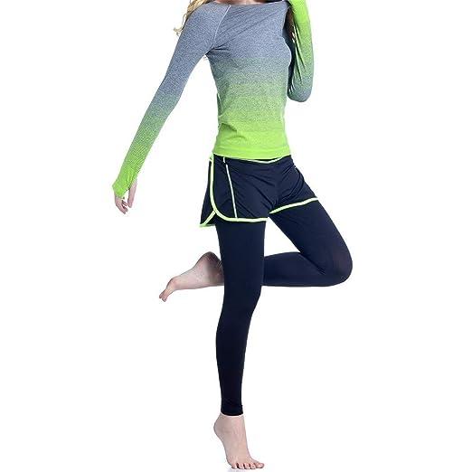 ASDFGG-sport Damas Protector Solar gradiente de Yoga Falso ...
