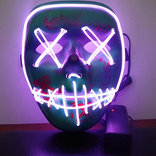 Smartcoco Frightening Halloween Cosplay LED Light up Mask for Festival Party Halloween Costumes]()