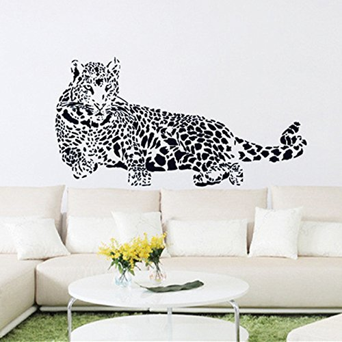 Ayutthaya shop Black PVC Wall Stickers Cheetah Leopard 3D Removable Wall Decals Home Decor Stickers Free (Vans Superhero Shoes)