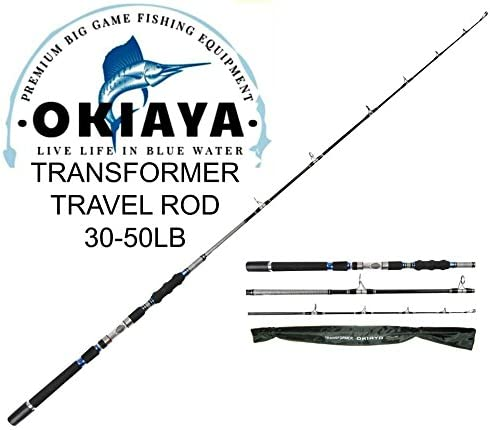 OKIAYA 3-Piece Spinning Heavy Action Portable Travel Fishing Rod Carbon Fiber Blank 30-50LB 7 6