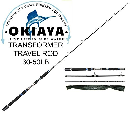 (OKIAYA 3-Piece Spinning Heavy Action Portable Travel Fishing Rod Carbon Fiber Blank (30-50LB))