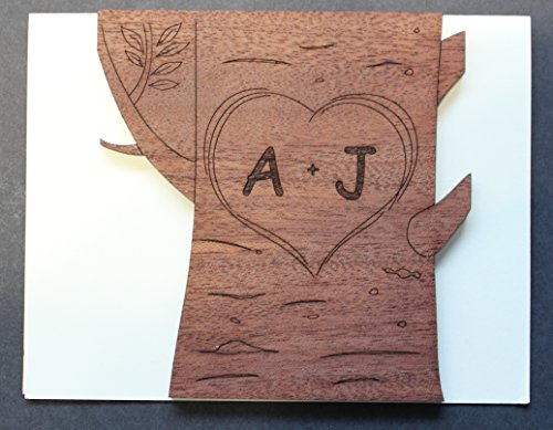Personalized Valentine Real Wood Tree Heart and Initials Unique Custom Valentines Day Love Greeting Card Best Wedding Dating Wooden Anniversary Gift for Him Husband Boyfriend or Her Wife - Cards Customize Gift