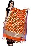 Chandrakala Women's Handwoven Cutwork Brocade Banarasi Dupatta Stole Scarf (Orange)