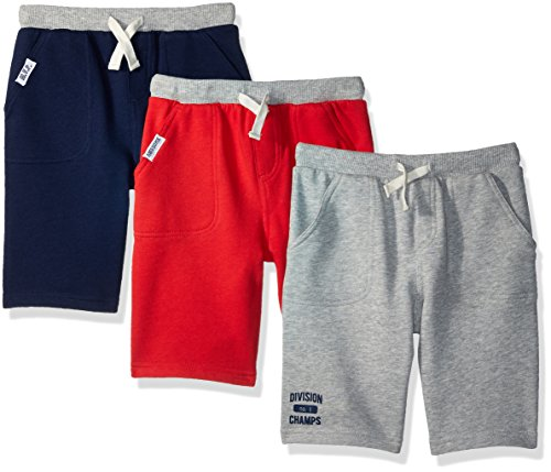 Simple Joys by Carter's Baby Boys' Toddler 3-Pack Knit Shorts, Red, Gray, Navy, (3 Pack Knit)