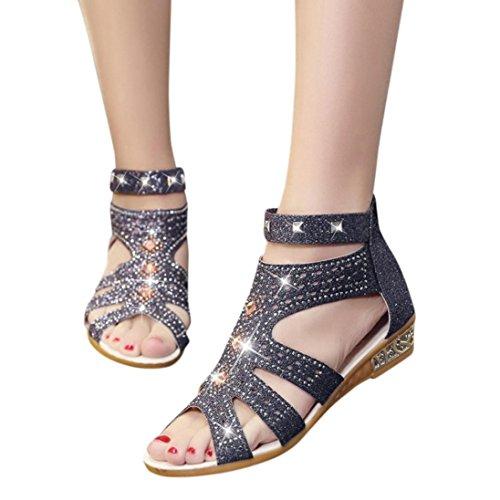 Women's sandals, Rakkiss Spring Summer Ladies Women Wedge Sandals Fashion Fish Mouth Hollow Roma Shoes (CN38, Black) - Roma Spring