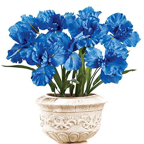 Iris Bushes Flower Arrangement Artificial Bush Picks - Set Of 3, Royal Blue