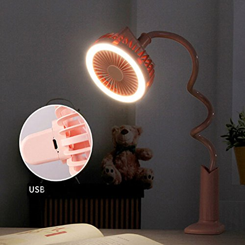 Adjustable Clip Fan with Night Light, Rechargeable Battery USB Mini Desktop Table Fan Flexible Neck Goose 360 Degree Personal Handheld Fan for Baby Stroller Home Dorm Office Travel (Pink, With Light) by BXT (Image #8)