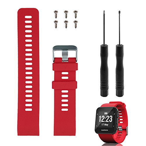 Band Replacement for Garmin Forerunner 35, Rukoy Soft Silicone Replacement Watch Band Strap for Garmin Forerunner 35 Smart Watch, Fit 5.56-7.96 (139mm-199mm) Wrist Band Replacement for Garmin(Red)