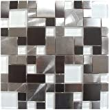 Modern Cobble Stainless Steel With White Glass Metal Tile - Kitchen Backsplash / Bathroom Wall / Home Decor / Fireplace Surround
