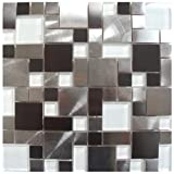 Modern Cobble Stainless Steel With White Glass Metal Tile - Kitchen Backsplash/Bathroom Wall/Home Decor/Fireplace Surround