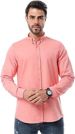 قميص قطن سادة باكمام طويلة للرجال من اندورا