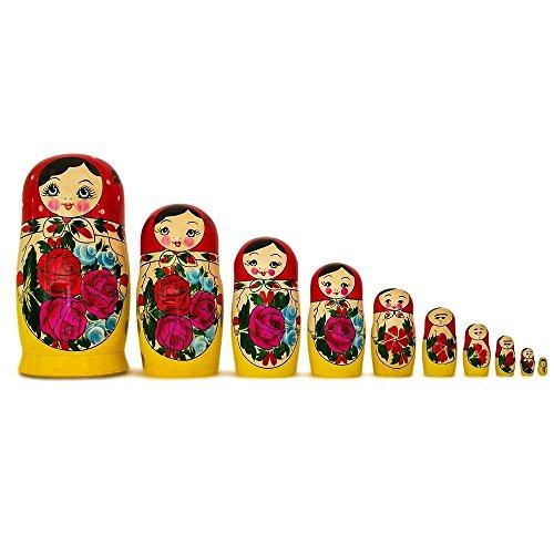 BestPysanky Set of 10 Traditional Semenov Russian Nesting Dolls Matryoshka 10 Inches by BestPysanky (Image #5)