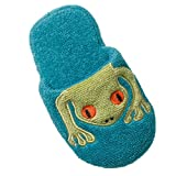 Breganwood Organics Toddlers Cotton Terry House Slippers for Boys and Girls, Closed Toe with Non Slip Sole, Bright Turquoise Animal Design, Silly Frog