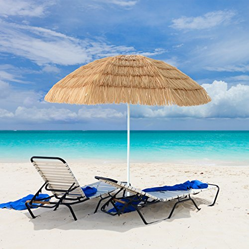7ft Hula Thatched Tiki Umbrella Patio Hawaiian Style Beach Umbrella, Natural Color by Coismo
