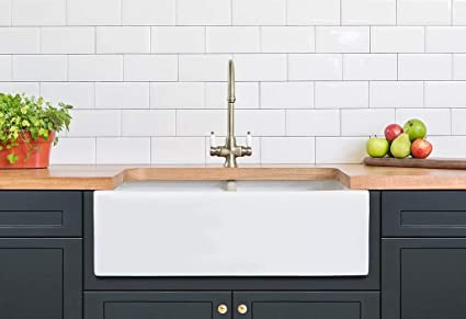 Barkano Farmhouse Farm Kitchen Sink White Double Bowl Fireclay with Apron  Front Undermount Installation Reversible Smooth Fluted 33 X 20 X 10 Inches
