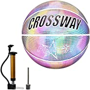 Holographic Reflective Basketball, Official Size 7 Reflective Basketbal with Good Bounce for Night Training Sp