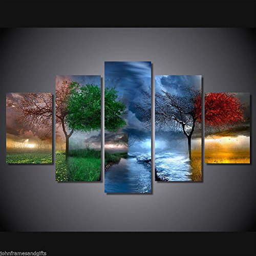 4 Seasons tree art vintage print poster canvas 5 pieces