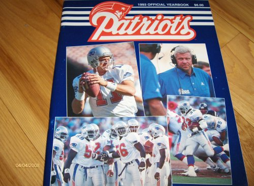 Vintage 1993 New England Patriots Official Yearbook Bill Parcells Drew Bledsoe Cover ()