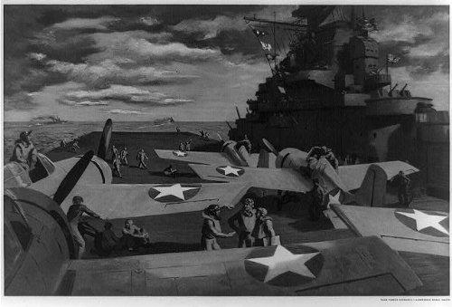 Infinite Photographs Photo: Task Force Hornets,c1944,Aircraft Carrier,US Navy Grumman Fighter Planes