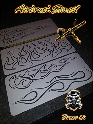 Ghost Flames Pinstripe Airbrush Stencil Motorcycle Tank Flames 3 Pack