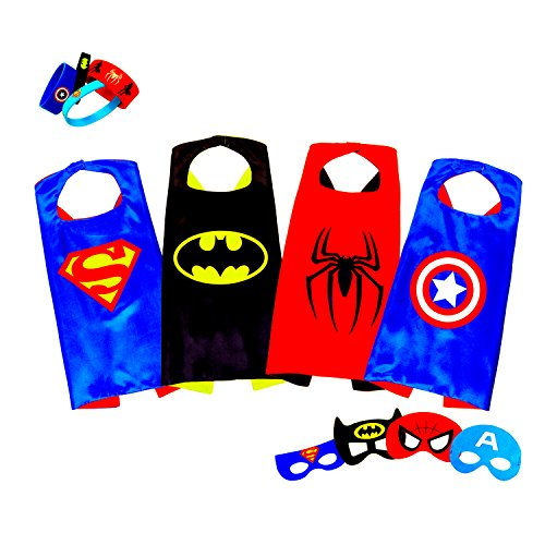 Superhero Costumes For Kids, Girls & Boys | Pretend Play Satin Capes, Masks & Bracelets | For Halloween, Birthdays Party Favors, Dress Up & (Superhero Boys)
