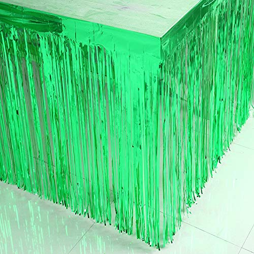 ShinyBeauty 29x108-Inch-Foil Fringe Table Skirt,Christmas Green Tinsel Table Skirt,Metallic Party Table Skirt(Pack of 10, Green) by ShinyBeauty