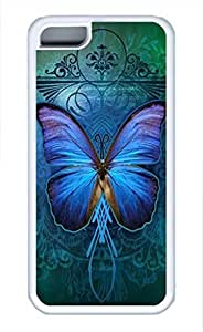 iPhone 5c case, Cute Beautiful Blue Butterfly iPhone 5c Cover, iPhone 5c Cases, Soft Whtie iPhone 5c Covers by lolosakes