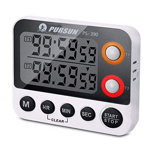 Digital Dual Kitchen Timer, Countdown Timer, Cooking Timer, Stopwatch, Large LED Display Count Up/Down Timer, Alarm Reminding by Flashing, Magnetic Back, Stand, White (Battery Included) (1 Pack)