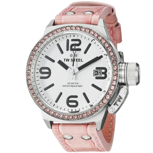 TW Steel Canteen 45mm White Dial Crystal-set Bezel Pink Leather Ladies Watch STW36