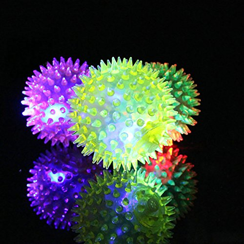 4Pcs LED Flashing Balls Squishy Balls with Rainbow Light Christmas Favor Bounce Toys for Kids Pet (Bouncing Flash Ball)
