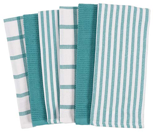 KAF Home Mixed Flat & Terry Kitchen Towels | Set of 6 18 x 28 Inches | 4 Flat Weave...