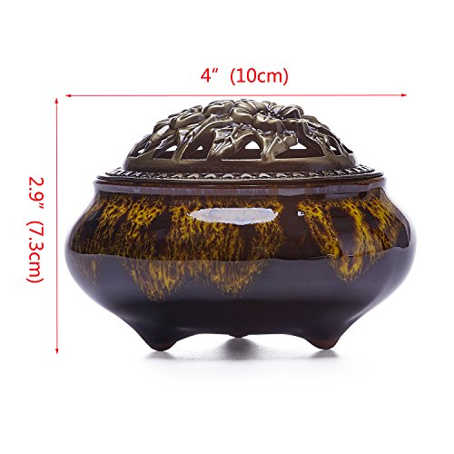 UOON Stick Incense Burner and Cone Incense Burner Holder (Yellow)