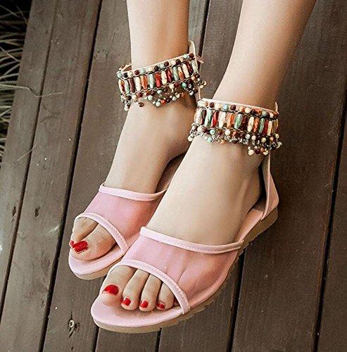 Sandalias abiertas del dedo del pie Zapatos femeninos 32-43 de las sandalias de la cuesta del hilo de rosca del verano de Starp del tobillo que respiran pink