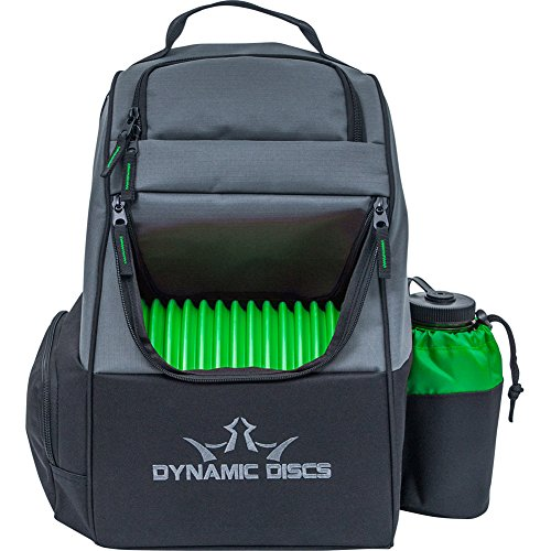 Dynamic Discs Trooper Disc Golf Bag - Fits Up to 18+ Discs and Four Putters – Introductory Disc Golf Backpack - Lightweight and Durable (Black/Green)