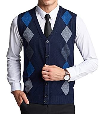 WEILAI Men's Fashion Argyle Design Solid Button-Front Cardigan ...