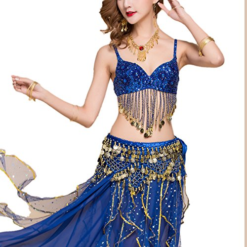 Belly Dancing Dance Team Tryout Competition Bra Tops Clothes with Floral Fringe - Dance Belly Cabaret