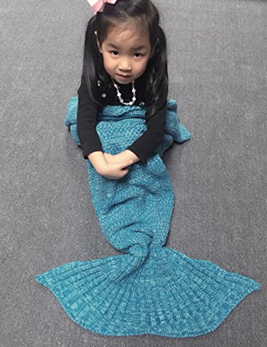 Holidayli Handmade Mermaid Tail Blanket For Kids Soft Knitted Lovely Warm Sofa TV Blankets Costume 56×28 inches (Blue)